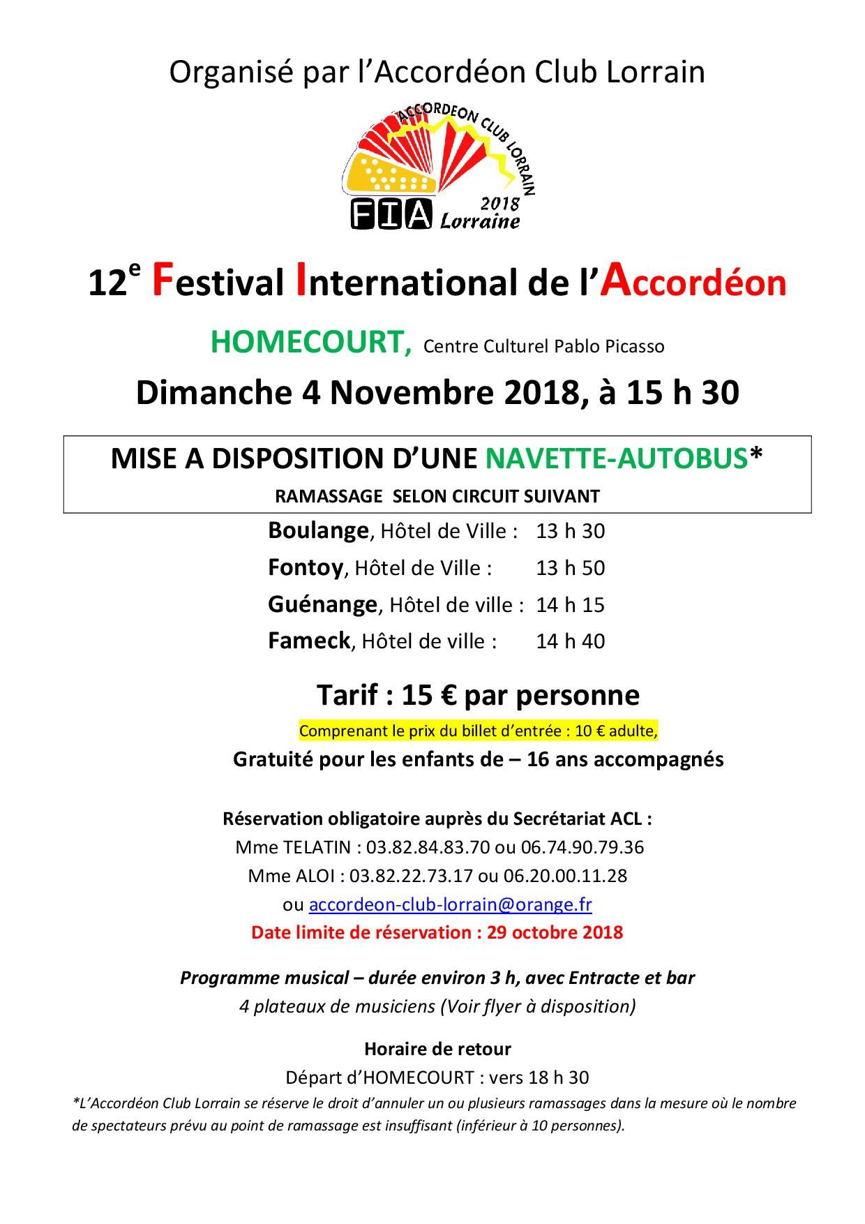 INFO SPECTATEUR BUS A DISPOSITION FIA 2018