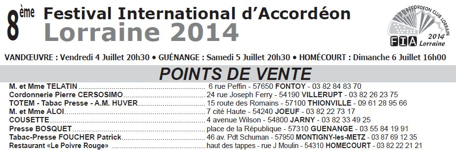 POINTS VENTE FIA 2014